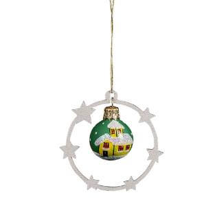 "Baumbehang aus Holz ""Sternenkranz mit Glaskugel , handbemalt""Holz grau, Glas grün Ø 7cm NEU"