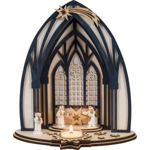 Teelichthalter Kerzenhalter Engelsymphonie aus Holz für ein Teelicht 23,5x13x26,5cm NEU