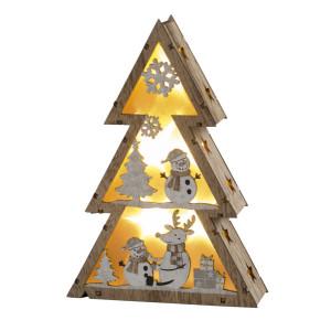 """LED-Weihnachtsbaum """"Schneemänner"""" für Batteriebetrieb mit Timer, klein 14,5x4,5x21cm NEU"""