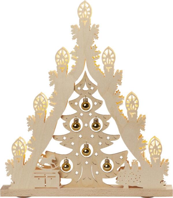 Lichterspitze 7 flg. Baum mit goldenene Kugeln (L/H/T): 38,0 cm x 43,0 cm x 4,5 cm NEU