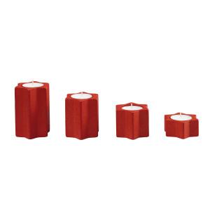 Sternleuchter rot, 4er-Set für 4 Teelichte Höhe 9,7,5,3cm NEU