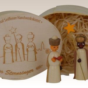 Miniaturen Sternsinger in der Spandose, natur 11,5cmx8cm h=5cm NEU