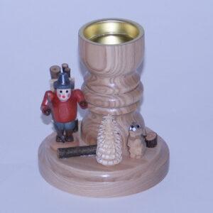 Teelichthalter Holzsammler mit Hase Erzgebirge Seiffen NEU