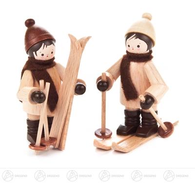 Miniatur Kinder mit Ski natur (2) Höhe ca 5,5 cm NEU