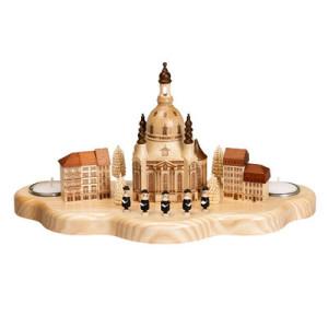 Kerzenhalter Kurrende mit Dresdener Frauenkirche und Häuser HxLxB 17x31x14.5cm NEU