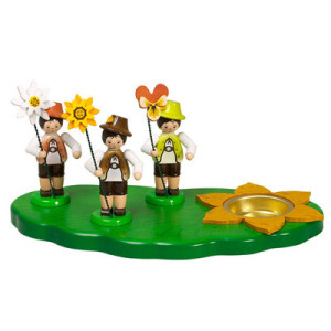 Kerzenhalter Wiese mit Teelicht + 3 Blumenjungen Erzgebirge Seiffen NEU 6425