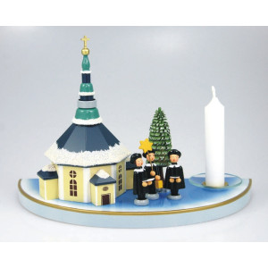Kerzenhalter mit Seiffener Kirche 3 Kurrendefiguren Haus Baum bunt 204/124 B