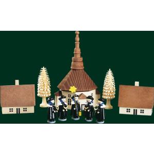 Figuren Seiffener Kirche mit Kurrende 10-tlg. Weihnachtsschmuck NEU 00166