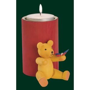 Stumpenkerze Teddy mit Schmetterling Teelichthalter Kerze Erzgebirge NEU 04364