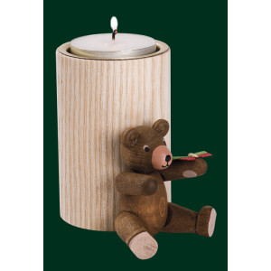 Stumpenkerze Teddy mit Schmetterling Teelichthalter Kerze Erzgebirge NEU 04366