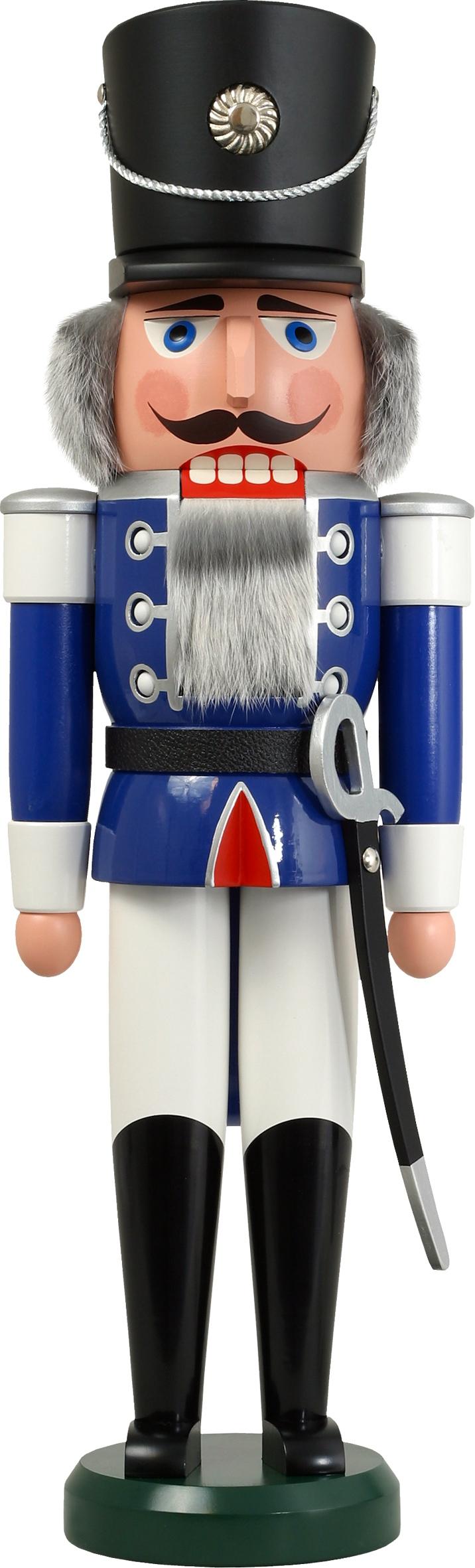 Weihnachtsdekoration Nußknacker Husar blau groß HxBxT = 60x19x15cm NEU
