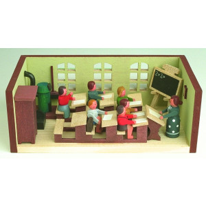 Miniaturstube Klassenzimmer mit Lehrerin BxHxT 11x4x6 cm NEU