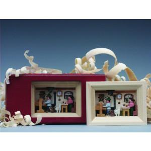 Weihnachtsdekoration Miniaturrahmen mit Drehstube BxH 5,5x7 cm NEU