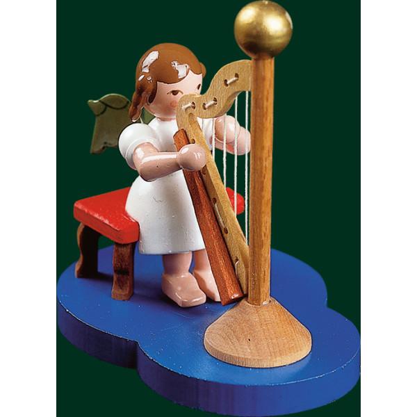 Engel mit Harfe Engelfigur Handarbeit Erzgebirge Weihnachten Seiffen NEU 15114