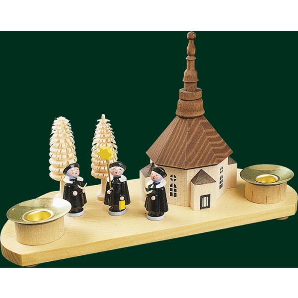 Kerzenhalter Seiffener Kirche + Kurrende Volkskunst Kerzenleuchter NEU 17540