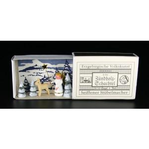 Miniaturzündholzschachtel Engel mit Reh BxH 5x4 cm NEU