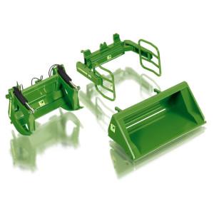 7381 Wiking Frontlader Werkzeuge Set A John Deere grün Anbaugerät 1:32 NEU