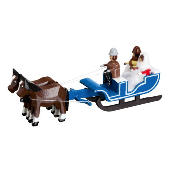 Pferdeschlitten Schlittenpartie Miniaturgespann Länge 9cm NEU