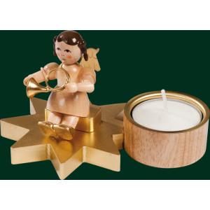 Engel mit Waldhorn Teelichthalter Erzgebirge Weihnachtsschmuck Seiffen NEU 04314