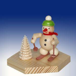 Weihnachtsdekoration Teelichthalter Schneemann Skifahrer natur BxHxT 6,5x7x6,5cm NEU