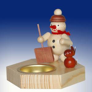 Weihnachtsdekoration Teelichthalter Schneemann mit Schippe und Hase natur BxHxT 6,5x7,5x6,5cm NEU