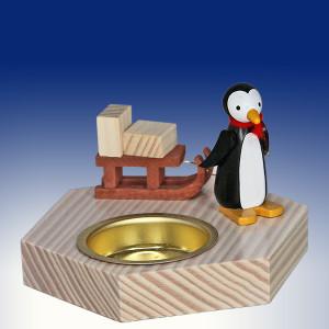 Weihnachtsdekoration Teelichthalter Pinguin mit Schlitten bunt BxHxT 6,5x6,5x6,5cm NEU