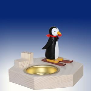 Weihnachtsdekoration Teelichthalter Pinguin auf Ski bunt BxHxT 6,5x6,5x6,5cm NEU