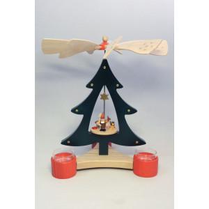 Baumpyramide Zwerg + Reh Pyramide 28 cm Seiffen Erzgebirge Weihnachten NEU 15814