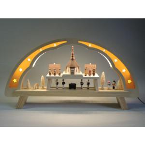 Schwibbogen LED Lichterbogen Seiffener Kirche 58 cm Fensterschmuck NEU 01083