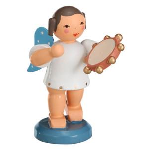 Engel mit Tamburin 6 cm Figur Weihnachtsfigur Erzgebige Seiffen NEU 9637