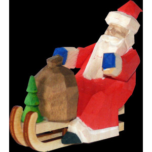 Weihnachtsmann Rodler mini geschnitzt bunt 6cm