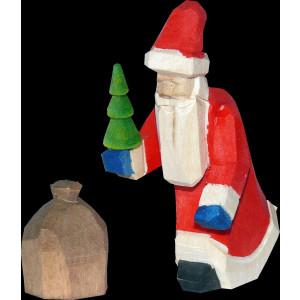 Weihnachtsmann Bescherung mini geschnitzt bunt 6cm
