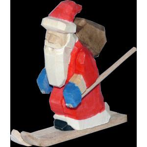 Weihnachtsmann Abfahrtsläufer Baumbehang mini geschnitzt bunt 6cm