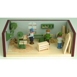 Miniaturstube Tischlerei BxHxT 11x4x6 cm NEU