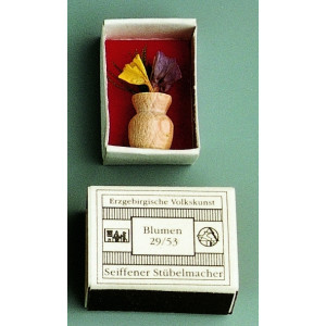 Mini Zündholzschachtel Vase mit Blumen BxH 2,5 x 1,5 cm NEU
