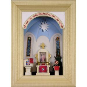 Weihnachtsdekoration Miniaturrahmen mit Dorfkirche BxH 5,5x7 cm NEU