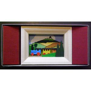 Weihnachtsdekoration Miniaturrahmen mit Eisenbahn BxH 5,5x7 cm NEU