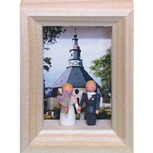 Weihnachtsdekoration Miniaturrahmen mit Hochzeit BxH 5,5x7 cm NEU