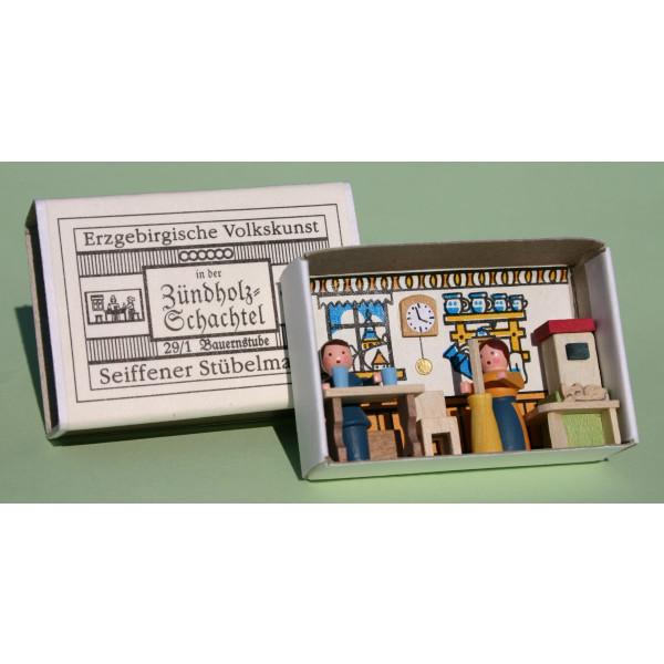 Miniaturzündholzschachtel Bauernstube BxH 5x4 cm NEU