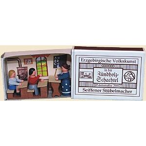 Miniaturzündholzschachtel Schule BxH 5x4 cm NEU
