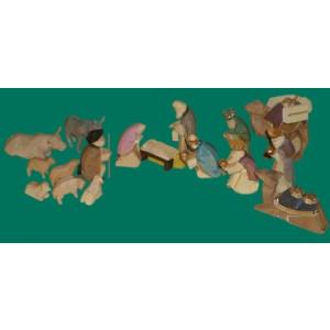 Krippe 17-teilig 6cm farbig