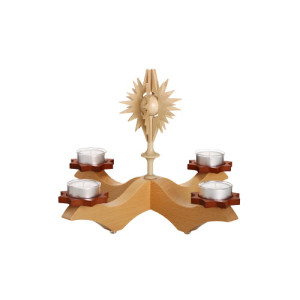 Adventsleuchter mit Stern + Teelichter Leuchter Seiffen Erzgebirge NEU OVP 2002