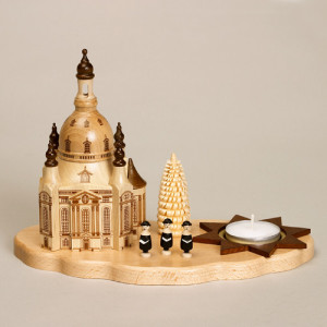 Teelichthalter Dresdener Frauenkirche, Kerzenhalter aus Naturholz