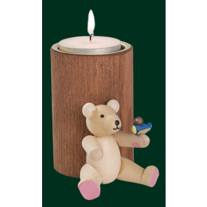 Braune Stumpenkerze Teddy mit Vogel Teelichthalter Kerze Erzgebirge NEU 04365