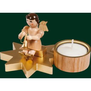 Engel + Trompete Teelichthalter Erzgebirge Volkskunst Weihnachtsschmuck 04312