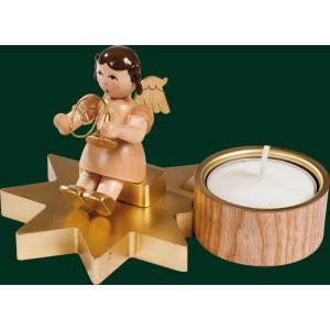 Engel mit Flügelhorn Teelichthalter Erzgebirge Weihnachtsschmuck NEU 04315