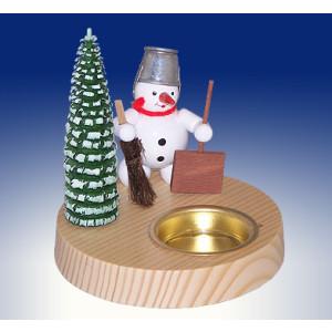 Tischdekoration Kerzenhalter Schneemann mit Schippen und Besen BxHxT 10x10,5x10cm NEU
