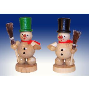 Weihnachtsdekoration Schneemänner mit Besen natur Höhe 8cm NEU