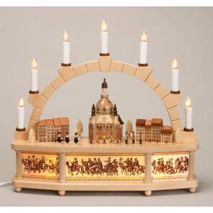 Schwibbogen mit bel. Dresdner Frauenkirche mit Häusern elek, beleuchtet 1107 NEU
