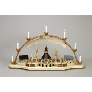 Schwibbogen Kurrende mit Seiffener Kirche Spanbaum elektrisch HxLxB 40x70x12cm NEU